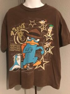 Boys Disney Phineas And Ferb T Shirt. Brown Agent P. Small.    D17