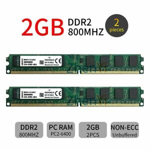 4GB Kit (2x 2GB) Kingston KVR800D2N6K2/4G DDR2 800MHz DIMM Desktop Memory RAM ZT