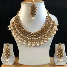 BEIGE GOLD INDIAN KUNDAN COSTUME JEWELLERY NECKLACE EARRINGS CRYSTAL SET NEW 219