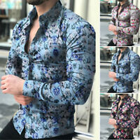 Mens Fashion Casual Long Sleeve Shirt Business Slim Fits Shirt Print Blouse-Top