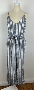 Target Womens *BNWOT* Linen Striped Cami Jumpsuit Blue White - Size 12 RRP $49