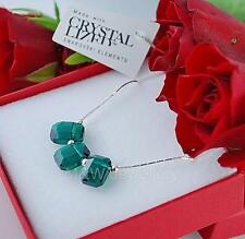 925 STERLING SILVER CHAIN NECKLACE CRYSTALS FROM SWAROVSKI® PENDULUM EMERALD