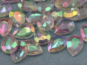 18x13mm Crystal Teardrop Decorating Gems AB Coating For Table Scatter 50 PCS