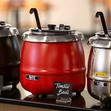 11 Qt. Round Red Stainless Steel Electric Soup Kettle Countertop Warmer - 120V