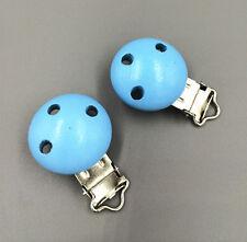 5pcs Wooden Alloy Blue Baby Pacifier Clip Round 4.4cmx 2.9cm