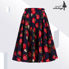 """24"""" Dark Blue Strawberry Full Circle Skirt 50s 60s Vintage Swing"""