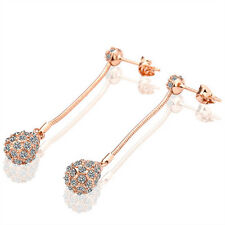 Trendy 18K Rose Gold P Austrian Crystal Glitterball Earrings Women Jewellery