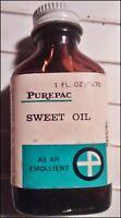Vintage Burn Medicine Bottle - Purepac SWEET OIL 1 Oz in Amber Bottle