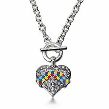 Inspired Silver Autism Awareness Pave Heart Toggle Necklace  Crystal Rhinestones