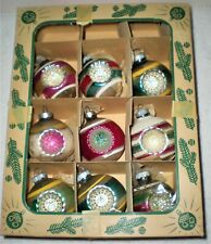 9 Vintage Glass Shiny Brite Christmas Ornaments Double Glitter Indents Rare Box