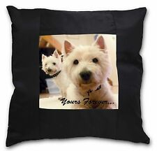 Westie Dog 'Yours Forever' Black Border Satin Feel Cushion Cover Wit, AD-W1y-CSB