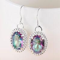 Handmade Oval Rainbow Mystical Fire Topaz Gemstone Silver Dangle Dangle Earrings