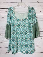 Umgee Boutique Women's S Small Blue Floral Summer Ruffle Tunic Top Blouse Shirt