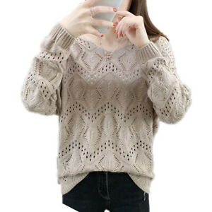 Women V-Neck Long Sleeve Hollow Out Jumper Sweater Solid Casual Tunic Fall Knit