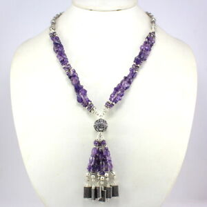 Gemstone Fine Amethyst Necklace Natural Gemstone Faceted Beads Handmade Jewelry