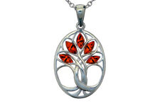 Sterling Silver 925 Baltic Amber Tree of Life Oval Pendant Jewellery Jewelry