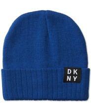 NEW DKNY NAVY TRUE RIB CUFFED LOGO WINTER BEANIE HAT