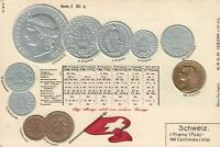 EARLY 1900's VINTAGE SWITZERLAND EMBOSSED COPPER SILVER & GOLD COINS POSTCARD
