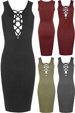 Women's Sleeveless No Pattern Knee Length Stretch, Bodycon Dresses