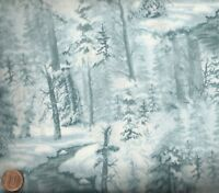 Whispering Winter snow trees blue tone Wilmington fabric