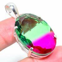 "Bi-Color Tourmaline Marvelous Handmade Ethnic Jewelry Pendant 1.97"""