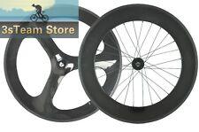 carbon track bike wheels 70mm front 3 spoke rear 88mm clincher fixed gear wheel