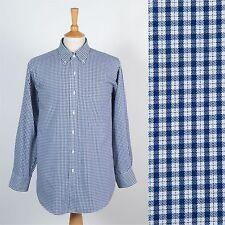 Ralph Lauren Chaps Motivo Check Camicia Uomo Blu Bianco Colletto con Bottoni XL
