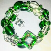 Memory Wire Bracelet with Green/Clear  Glass Beads Charms on ends FREE SHIPPING