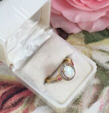 Vintage Jewellery Gold Opal Ring with Rubies and Diamond Antique Deco Jewelry