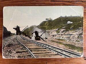 Excavators at Work in Panama Canal - Early 1900s Vintage Postcard