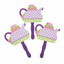 "Tea Party Hand Fans (12 Pack)  8"" plastic handle."