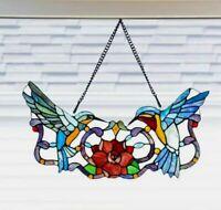 Stained Glass Window Panel Hummingbird Tiffany Style Sun Catcher Bird Decor GIFT