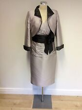 CARINA SILVER GREY LACE TRIM SPECIAL OCCASION DRESS & BOLERO JACKET SIZE 12