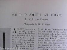 G O Smith Corinthians England Football at Home Rare Antique 1900 Photo Article