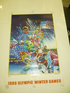 1988 CALGARY WINTER OLYMPIC GAMES ART POSTER Hiro Yamagata ROLLED - EXCELLENT