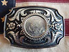 Handcrafted véritable USA moitié boucle de ceinture dollar coin argent / noir metal Western