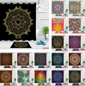 Abstract Mandala Flower Shower Curtain Set Polyester Fabric Bathroom Hooks 180cm