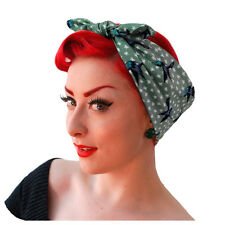 Hummingbirds Headscarf in Sage Green, Summer Hair Scarf, Rockabilly Bandana,