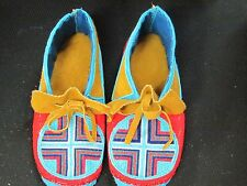 NATIVE AMERICAN FULL BEAD MOOSE HIDE MOCCASINS 9 1/2 INCHES  EYE CATCHING COZY