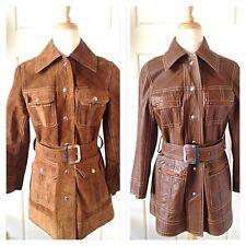 Vintage Leather Jacket Coat Reversible Mod