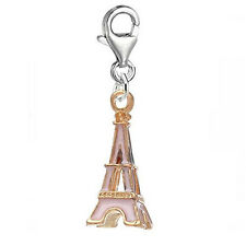 Eiffel Tower Clip on Pendant for European Charm Jewelry with Lobster Clasp