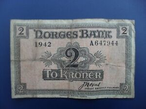 SCARCE 1942 NORWAY 2 KRONER BANKNOTE F~WWII GOVERNMENT IN EXILE NOTE