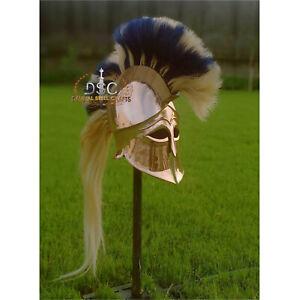 18GA Brass Medieval Greek Helmet Corinthian Helmet W/Leather Liner X-Mass YZ404