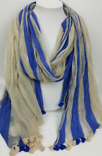 Aphorism scarf blue and off-white pompom tassels silk cotton blend 40X72