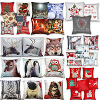 Winter & Christmas Print Cushion Covers or Filled Cushions from £4.48