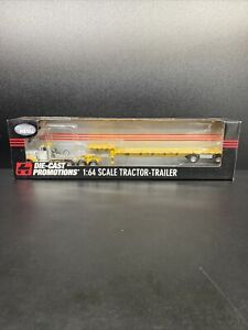 DCP #31797 SEMI TRACTOR FLATBED TRAILER  1:64 PETERBILT WHITE/YELLOW Owner Op