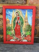 Authentic MEXICAN Virgin of Guadalupe Glittery Retablo Painting Icons Kitsch #11