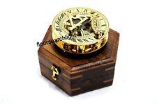 Nautical Marine SUNDIAL Compass With Wooden Box Designer Golden Finish Gift