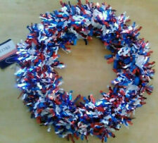 Patriotic 4th of July red white blue shiny foil wreath decoration