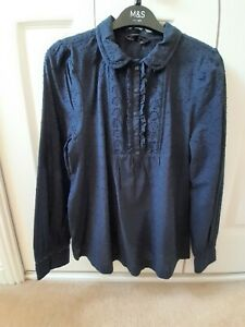 M&S Navy Broderie Anglaise Blouse Size 8 (to fit Size 10) - Brand New